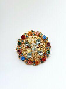 Ornate BROOCH VINTAGE Czech Gold Tone Filigree Glass Stones
