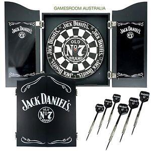 Image Is Loading JACK DANIELS Dartboard Cabinet Set With Darts Slight