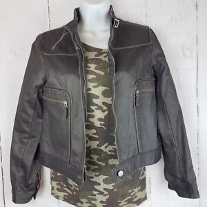 Gray-Brown-Cropped-Vegan-Leather-Look-Cotton-Blend-Moto-Jacket-Sz-SP-Zip-Front