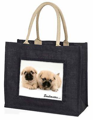 pugzu Welpe Hunde  Soulmates  große schwarze Einkaufstasche WEIHNACHTEN