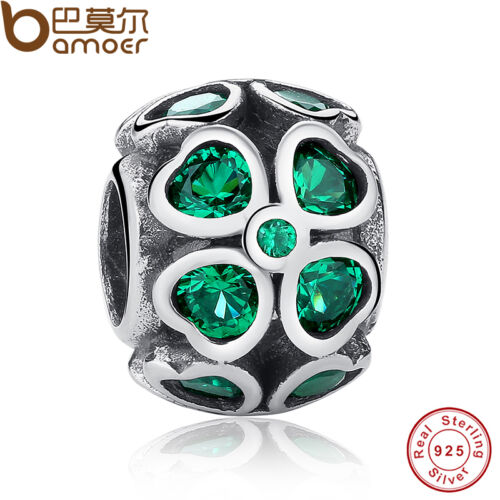Shining Authentic S925 Sterling Silver Charms Green Lucky leaves Dark Green CZ