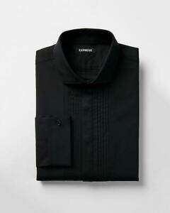 e5d6b4c294 NEW EXPRESS $70 BLACK SLIM FIT PLEATED TUXEDO SHIRT SZ XL EXTRA LARGE