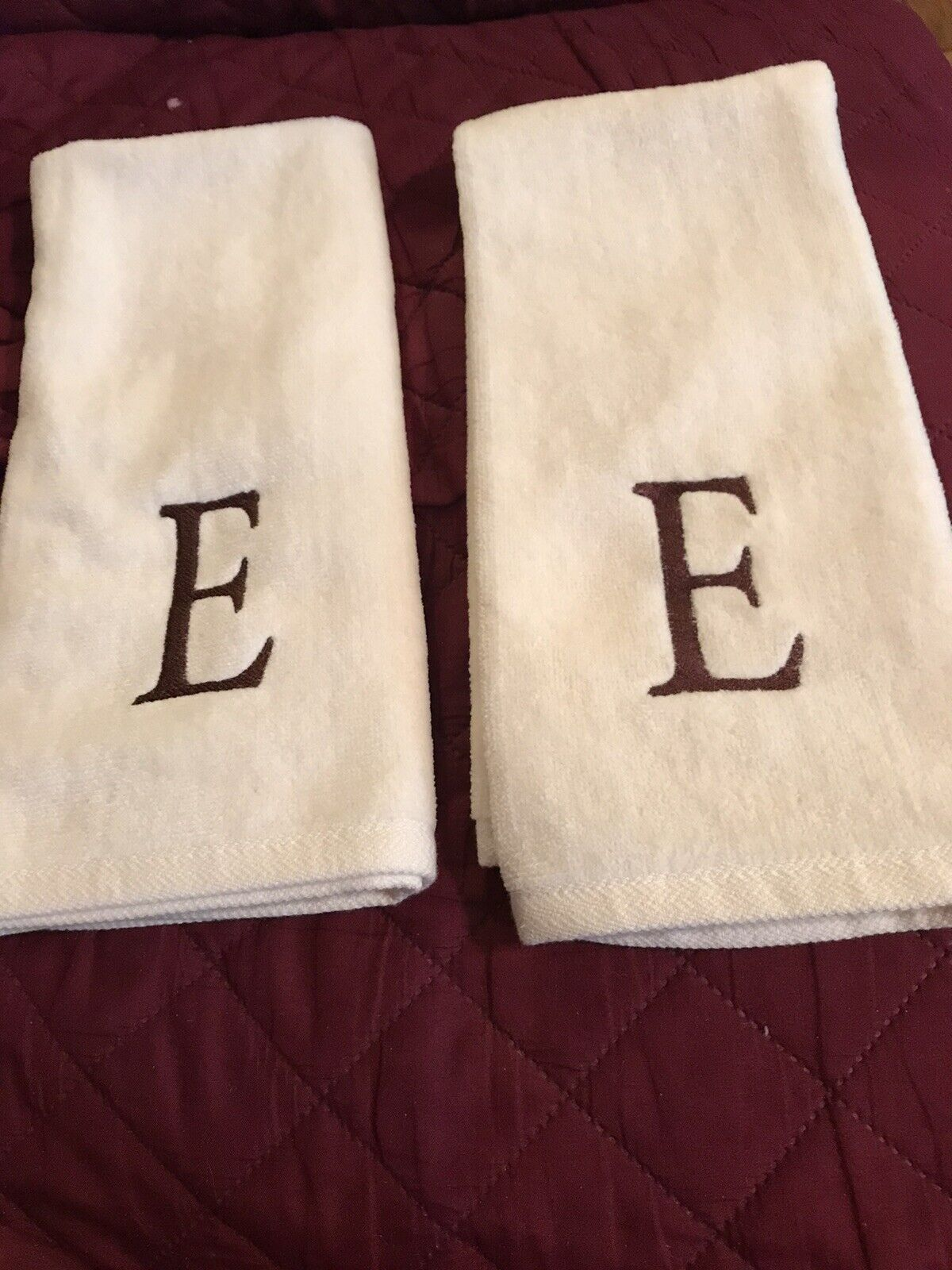"""(2) Sonoma Personalized Hand Towels 24"""" X 16"""" Ivory w/ Embroidered """"E"""" In Brown"""