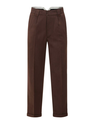 1940s UK and Europe Men's Clothing – WW2, Swing Dance, Goodwin    Mens 1940s Swing Vintage Style Brown Fishtail Look Trousers With Turn Up Hems $42.99 AT vintagedancer.com