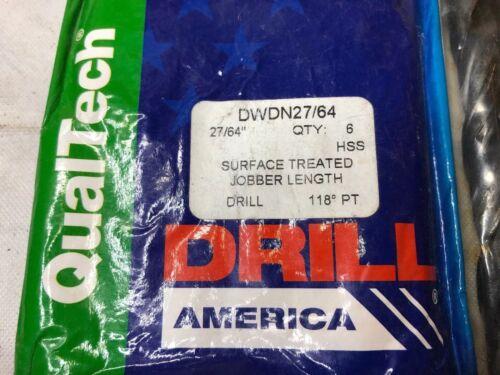 "DWDN27//64 Qualtech 27//64/"" Pack of 6 HSS Black Oxide Jobber Length Drill Bit"