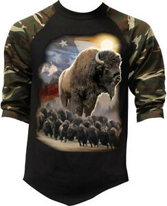 American Bison Men/'s T-Shirt Buffalo Native American Flag Mens Tee