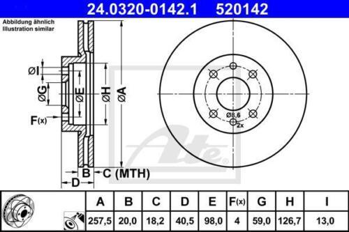 garnitures avant FIAT Barchetta Brava Bravo Marea Punto GT UAT powerdisc Ø 257 mm