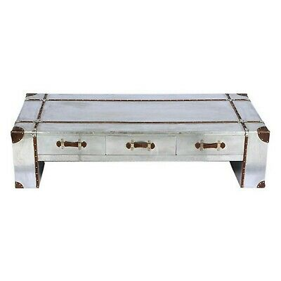 Industrial Aluminium Copper Coffee Table Vintage Retro Style With Three Drawer 5060453244623 Ebay