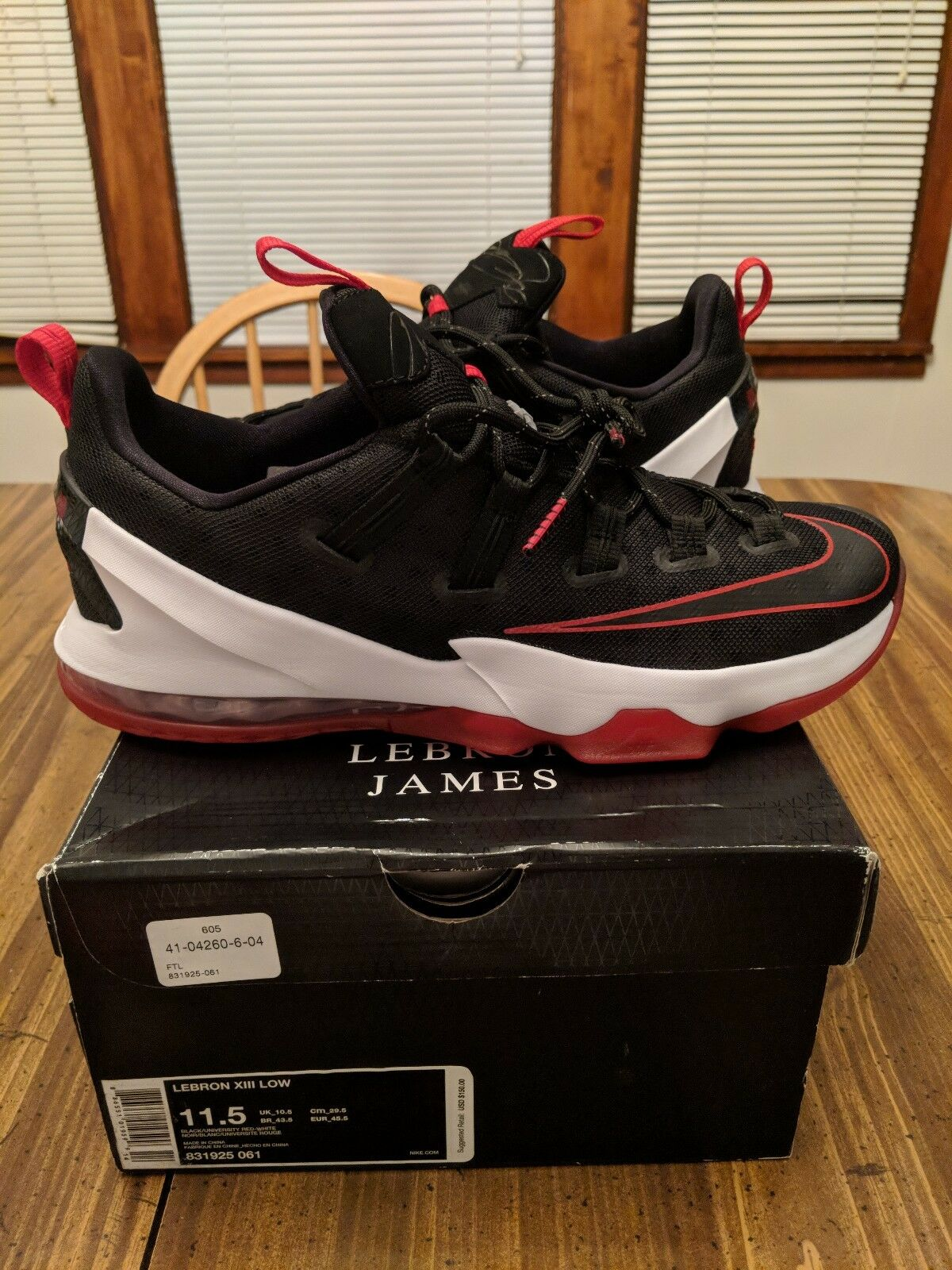 Nike Lebron 13 Xlll Low Size 11.5 Men's basketball black unv red-white 831925061