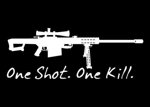 ONE SHOT ONE KILL Barret M82A1 SNIPER Vinyl Decal Graphics Sticker **WHITE**