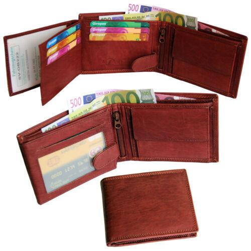 Men/'s Grain Leather Wallet Purse Big Wallet Double Seam Horizontal Format Brown