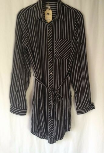 NEW LADIES SIZES 10-16 VISCOSE 3//4 ROLL UP SLEEVE STRIPED LOOSE FIT SHIRT DRESS