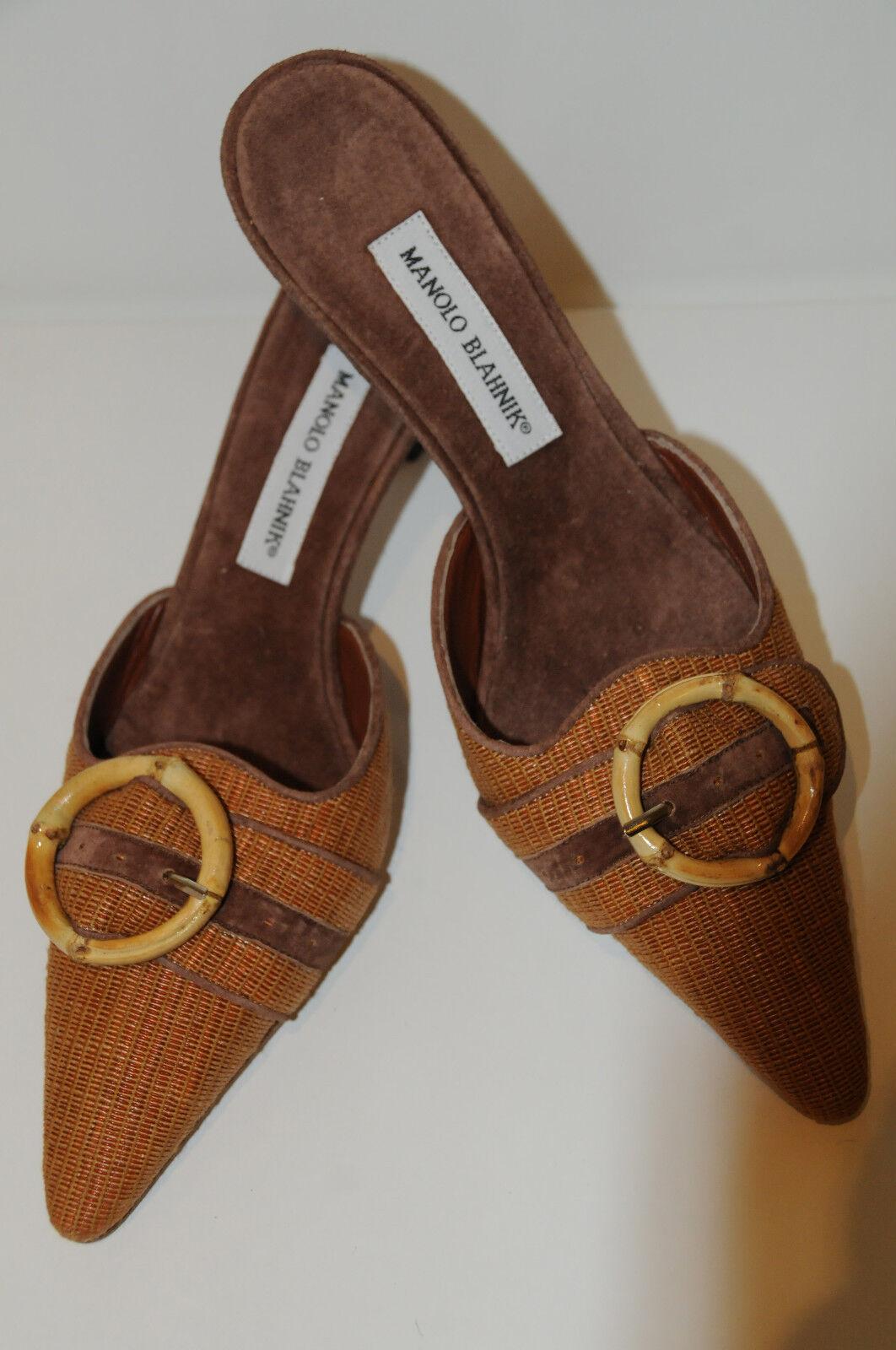 Neuf Manolo Blahnik Cognac Marron Paille Cuir Suédé Chaussures Mules 37