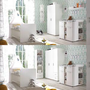 Details zu Babyzimmer Komplett Set Bibo 1 Kinderzimmer Schrank Bett Kommode  3-teilig weiß