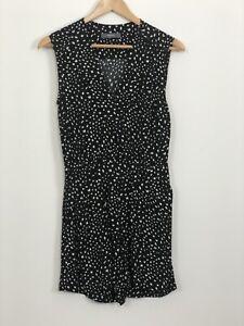 MARCS-Womens-Black-White-Spot-Sleeveless-V-Neck-Short-Playsuit-Romper-Size-6