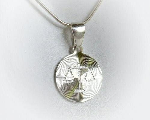 Waage Sternzeichen Silber 925 Waage rund diamantiert Sterlingsilber st141