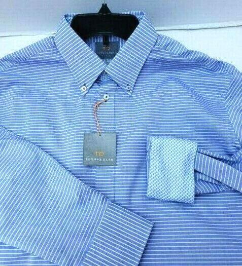 TD Thomas Dean Mens Shirt Blau Weiß Horizontal Stripes Flip Cuff Pima Cotton M
