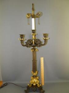 Image Is Loading Antique French Empire Bronze Dore Candelabra Table Lamp