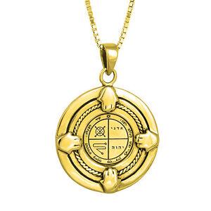 Pendant-Amulet-Kabbalah-Against-Evil-Eye-Seal-King-Solomon-Gilding-18K-Silver925