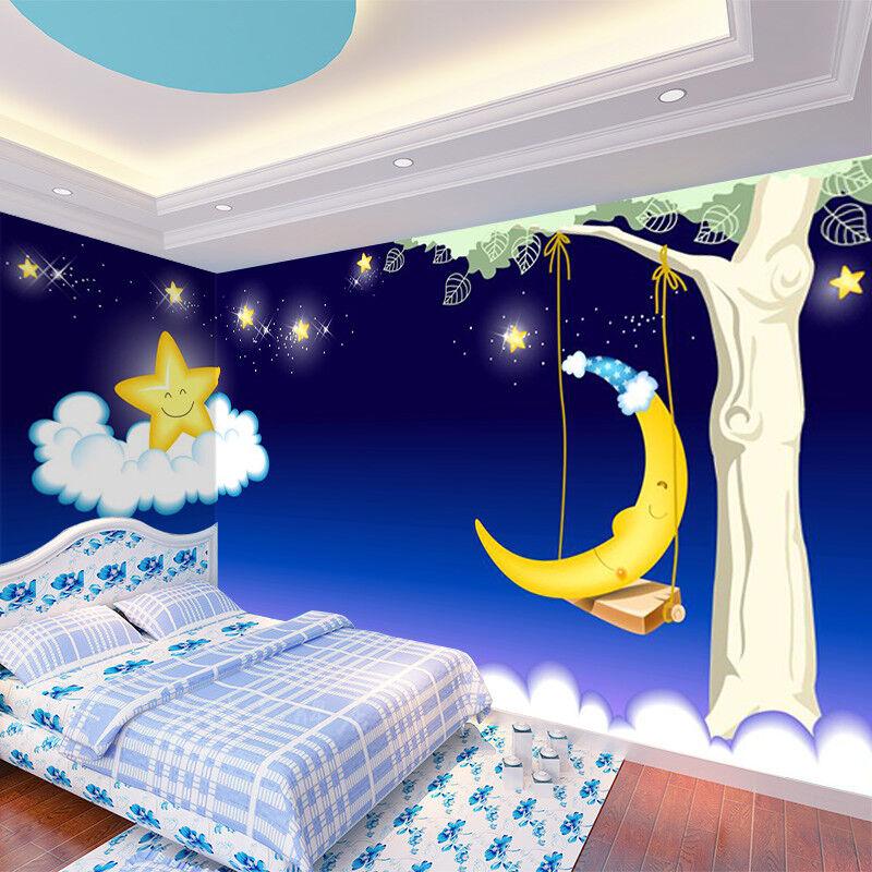 3D Moon Stars Tree 86 Wall Paper Murals Wall Print Wall Wallpaper Mural AU Kyra