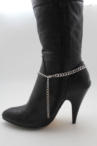 Damen Stiefel Armband Silber Metallkette Stern Kreis Söckchen Schuh-Anhänger