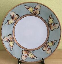 JPL-LIMOGES-FRANCE-PORCELAIN-PLATE-HAND-PAINTED-SIGNED- BUTTERFLIES