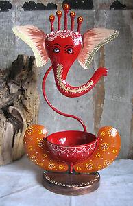 Schoener-GANESHA-Kerzenhalter-Metall-handbemalt-Ganapati-traditionelle-Volkskunst