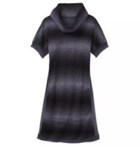 Athleta-Space-Dye-Zuni-Sweater-Dress-XS-Ombre-Blue-Black-Cowl-Neck-Knit