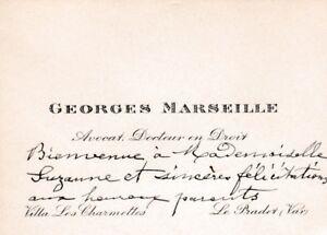 X326 Ancienne Petite Carte De Visite Georges MARSEILLE