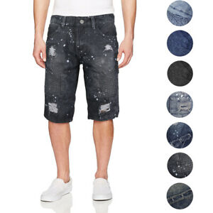 Men-039-s-Quilted-Distressed-Destroyed-Worn-Casual-Moto-Slim-Fit-Denim-Jean-Shorts