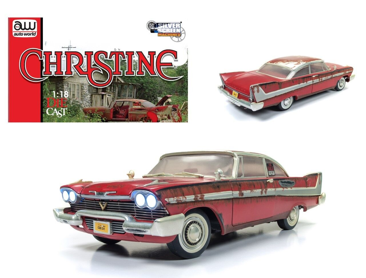 1958 Plymouth Fury  Christine  Dirty Version w Lights 1 18 Autoworld AWSS119
