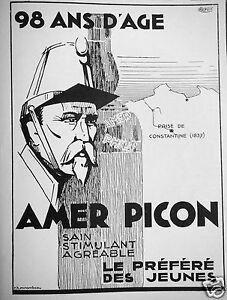 PUBLICITE-1935-90-ANS-D-039-AGE-AMER-PICON-STIMULANT-AGREABLE-LE-PREFERE-DES-JEUNES