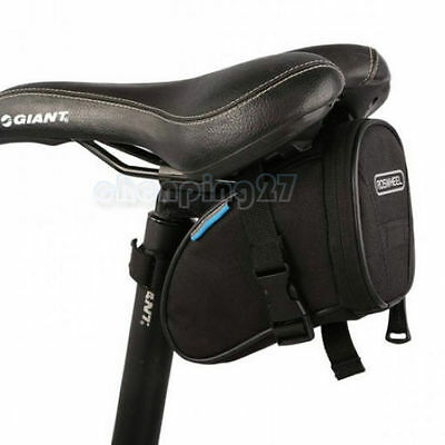 New Cycling Bike Bicycle Rear Seat Saddle 1L Tail Bag Quick Release 600D Black