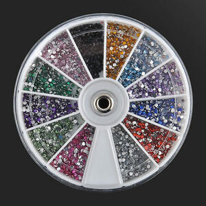 1-Box-Nail-Art-Rhinestones-Glitter-Diamond-Gems-3D-Tips-DIY-Decoration-Wheel-UK