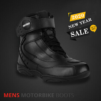Profirst Global Motorbike Boots Waterproof Leather Stylish Short Ankle Racing Motorcycle Advernture Urban Off Road Touring Shoes Black Size 10