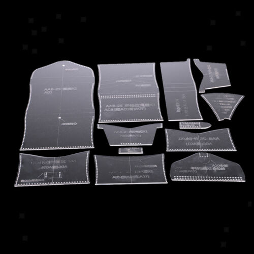 12pcs Clear Acrylic Wallet Pattern Stencil Template Set Leather Craft Tools