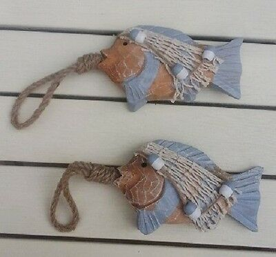 NEW Pair Chunky Rustic Wood Fish /& Net Hanging Decoration /& Rope 15x10cm NO P/&P