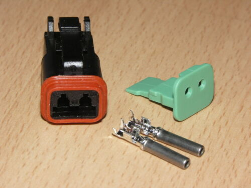Harley OEM DT Series 2 Way Black Male Connector with Terminals and Lock DT06-2S