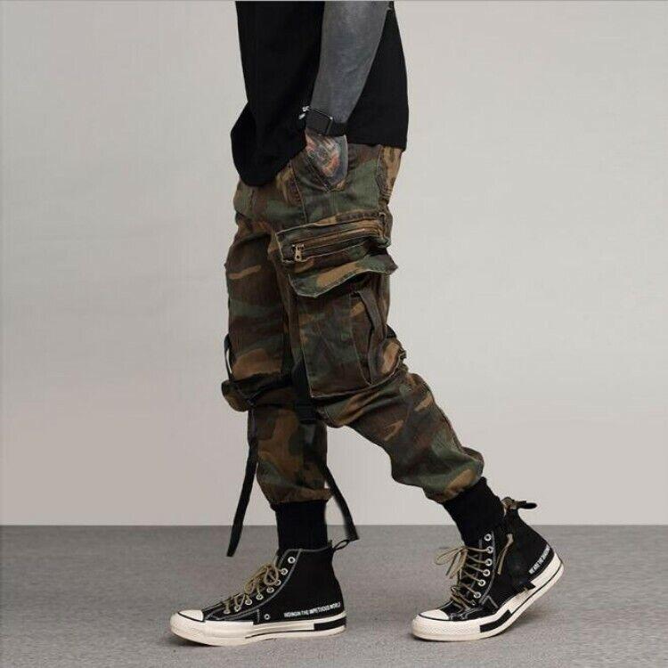 Mens Casual Cargo Pants Camouflage Harem Pants Loose Fit Hip Pop Carpenters Size
