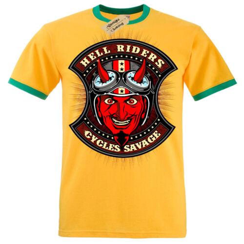 Hell riders Cycles Savage T-Shirt biker devil Mens RInger