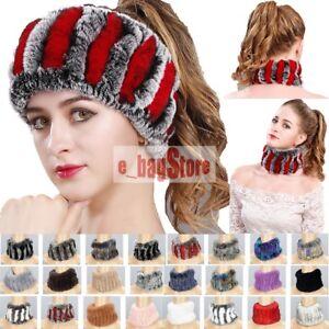 Handmade-Women-Real-Rex-Rabbit-Fur-Headbands-Girl-Ring-Cowl-Snood-Scarves-Winter