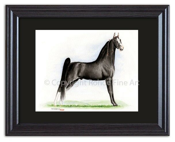 THE PUSHER C.G. - FRAMED TENNESSEE WALKER walking HORSE ART painting signed NICE