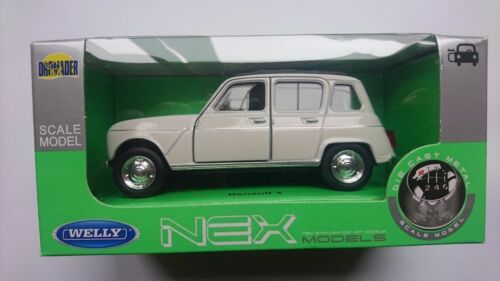 WELLY RENAULT 4 WHITE 1:34 DIE CAST METAL MODEL NEW IN BOX