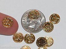 5pc Miniature dollhouse tiny little Golden money Coins charms flat backs 8mm NEW