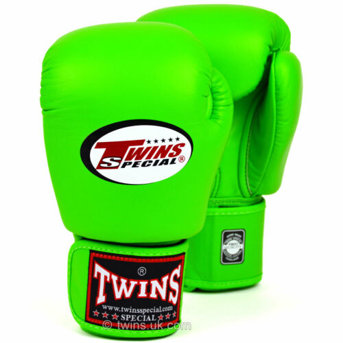 Twins BGVL-3 Leather Boxing Gloves Lime Green Muay Thai Sparring Kickboxing