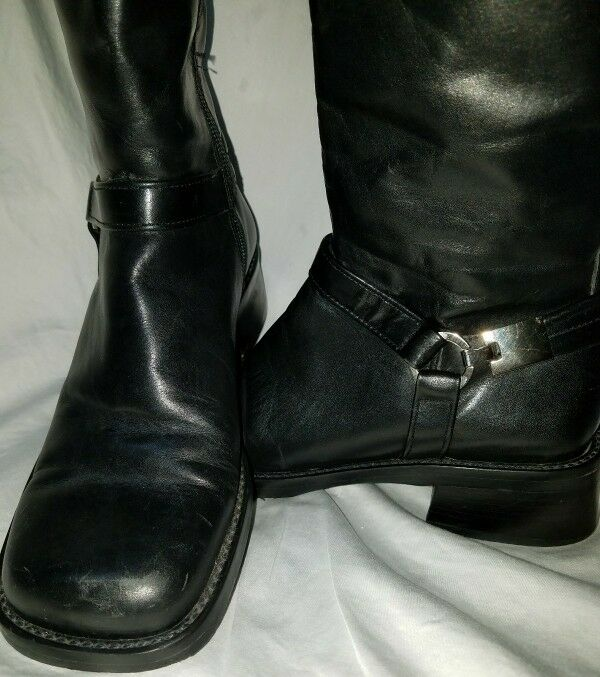 Nine West Black Leather Zip Boots Woman's Size 6.5