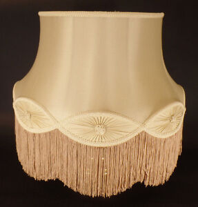 New-100-Pure-Silk-Champagne-Floor-Lamp-Gallery-Bell-Shade-With-Fringe-Trim