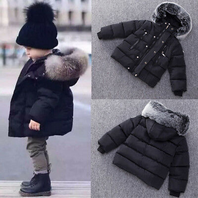 Toddler Kids Baby Gril Boy Cute Ear Zipper Thick Hooded Coat Warm Outwear DZ