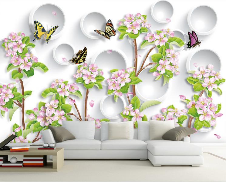Papel Pintado Mural De Vellón Árboles Mariposa Flores 2 Paisaje Fondo PanGröße