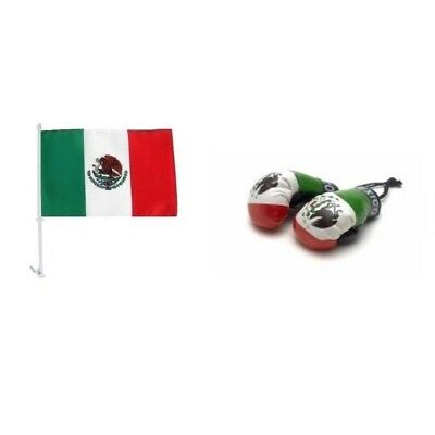 MEXICO CAR FLAG & MINI BOXING GLOVES 2018 WORLD CUP SHIPS FROM USA
